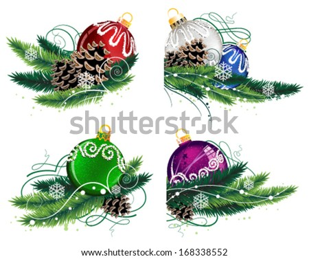 Set of Christmas decorations with pine branches and cones on white background - stock vector