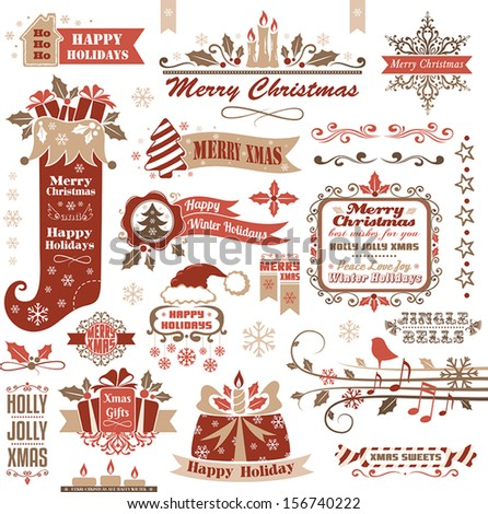 Set of christmas decorative elements (color) - stock vector