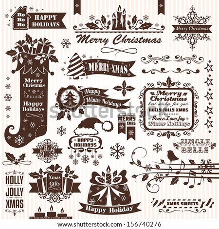 Set of christmas decorative elements (monochrome) - stock vector