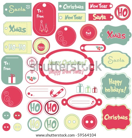 Set of Christmas design frames and stickers - stock vector