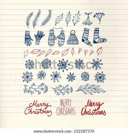 Set of Christmas  doodle  hand drawn design elements with greeting text on paper background - stock vector