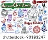 Set of Christmas doodles, vector illustration - stock vector