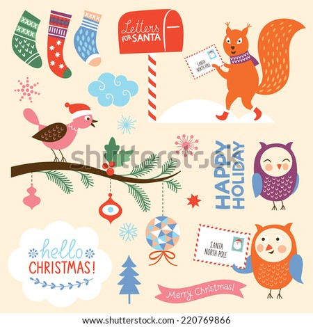 set of Christmas elements - stock vector