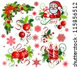 set of Christmas elements, corners, snowflakes - stock vector