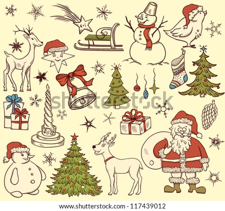 Set of christmas elements in retro style on beige background - stock vector