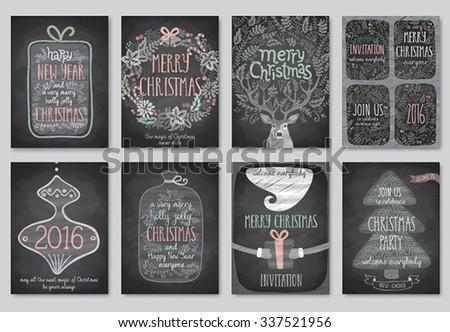 Set of Christmas emblems - Chalkboard. - stock vector