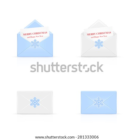 Set of Christmas envelopes with card and snowflakes, illustration. - stock vector