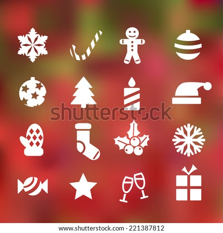 set of 16 christmas flat icons on abstract background - stock vector