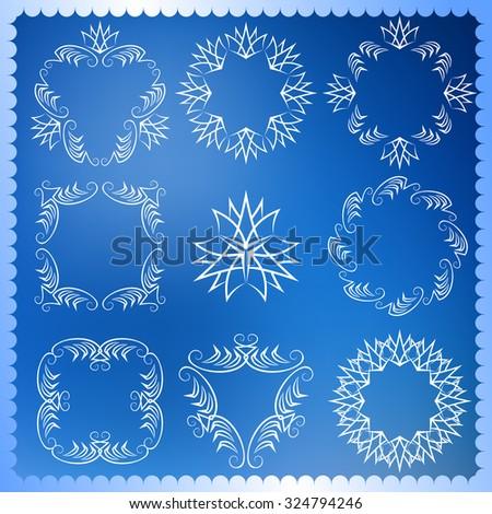 Set of Christmas frames. Monogram design elements, graceful template. Elegant line art logo design. Vector Calligraphic collection for Flyers, Brochure, invitation, Restaurant, Royalty, Boutique, Cafe - stock vector