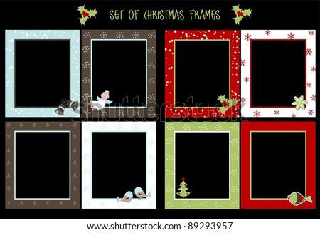 Set of Christmas frames, vector - stock vector
