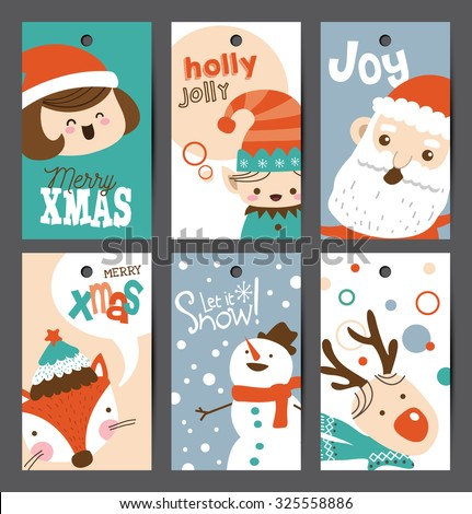 Set of Christmas gift tags - stock vector