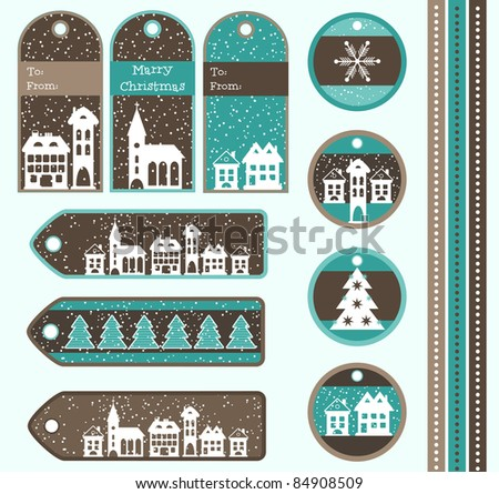 Set of Christmas gift tags, vector - stock vector