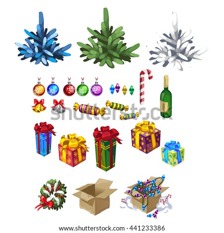 Set of Christmas gifts and decorations for Christmas trees isolated on white background. Vector illustration. - stock vector