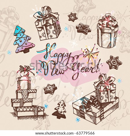 Set of Christmas gifts. Vector illustration. - stock vector