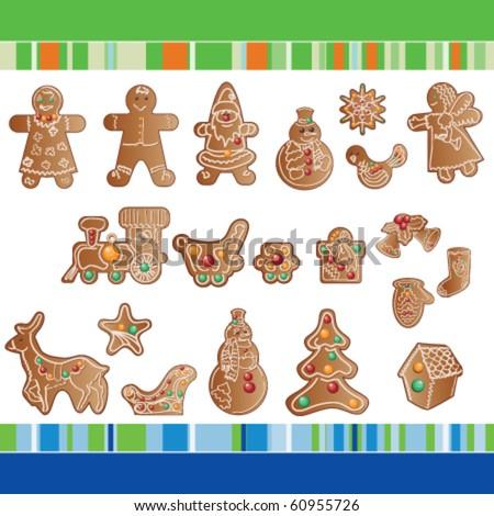 set of Christmas gingerbread cookies - stock vector