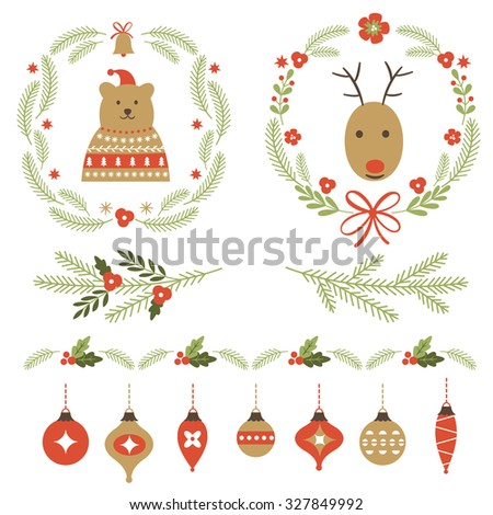 Set of Christmas graphic elements and ornaments  - stock vector