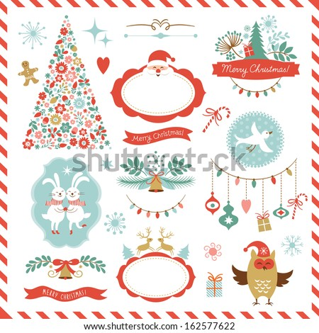 Set of Christmas graphic elements for your design  - stock vector