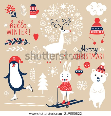 Set of Christmas graphic elements on beige background - stock vector