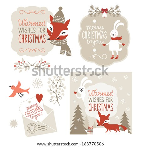 Set of Christmas graphic elements, vector illustration for greeting cards, scrapbooking elements - stock vector