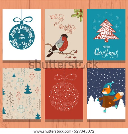Set of christmas greeting card. Xmas postcards with ball, bullfinch, winter landscape, cute fox. Handwritten lettering inscriptions.