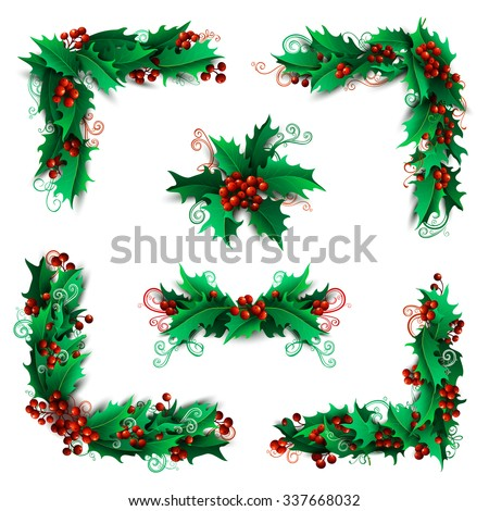 Set of Christmas holly berries design elements. Vector vintage corners, page decorations and dividers. Isolated on white background. Can be used for your Christmas invitations or congratulations. - stock vector