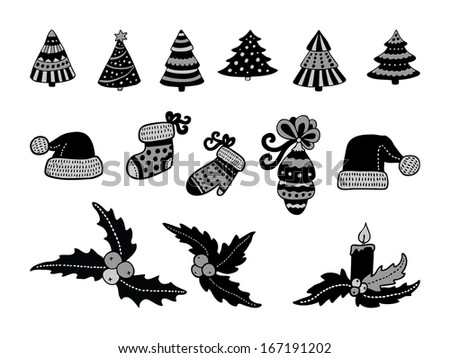 set of christmas icons in black color