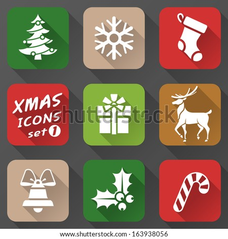Set of christmas icons in flat style. Simple new year icons with long shadow effect. Qualitative vector graphics for christmas, new year's day, winter holiday, design, silvester, etc - stock vector