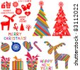 Set of christmas icons isolated on White background. Vector illustration. - stock photo