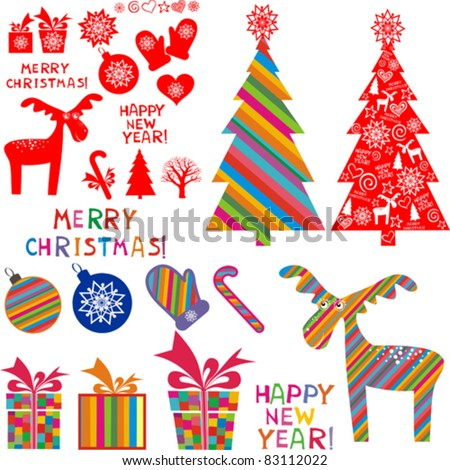 Set of christmas icons isolated on White background. Vector illustration. - stock vector
