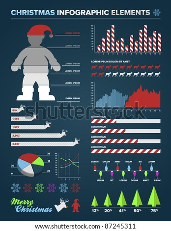 Set of christmas infographic charts, icons, and design elements - stock vector