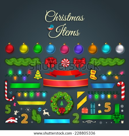 Set of Christmas items. Elements and decorations. Vector illustration - stock vector
