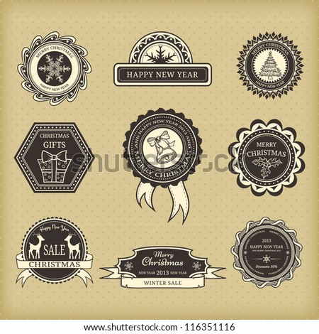 Set of Christmas labels in retro style - stock vector