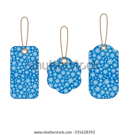 Set of Christmas labels with blue background from snowflakes. Element for your Christmas designs, projects, promotional sales and other your projects. Just write your text.