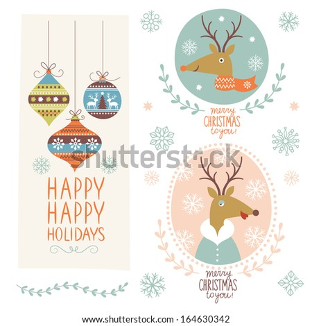 Set of Christmas lettering and graphic elements  - stock vector