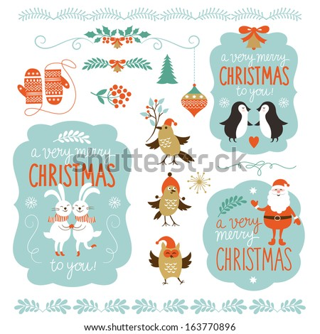 Set of Christmas lettering and graphic elements, cute cartoon animals, vector illustrations for greeting cards - stock vector