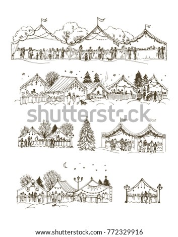 Set of Christmas markets, fairs on white background