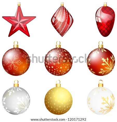 Set of Christmas (New Year) balls. EPS 10 vector illustration with transparency and mesh. - stock vector