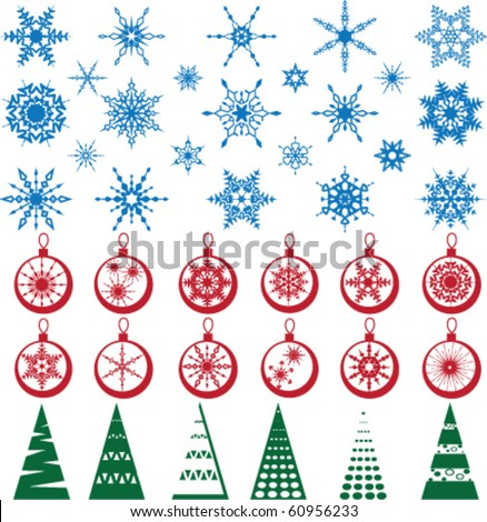 Set of Christmas / New  Year decoration. Beads, snowflakes, trees - stock vector