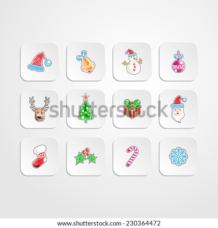 Set of Christmas/New year icons.Color pencil drawing style.vector illustration