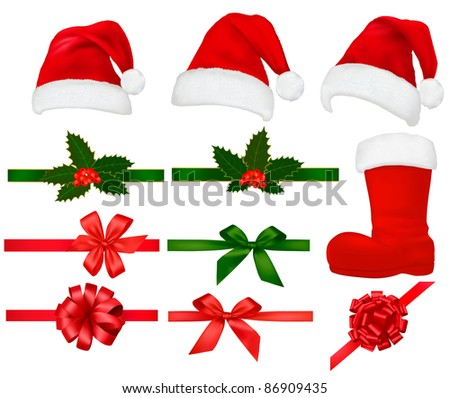 Set of Christmas objects. Vector illustration. - stock vector