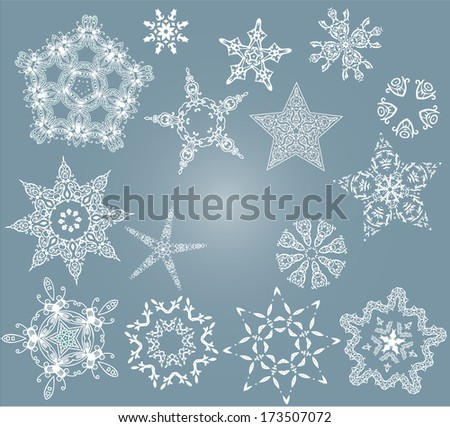 Set of christmas ornament star, on the blue background. - stock vector
