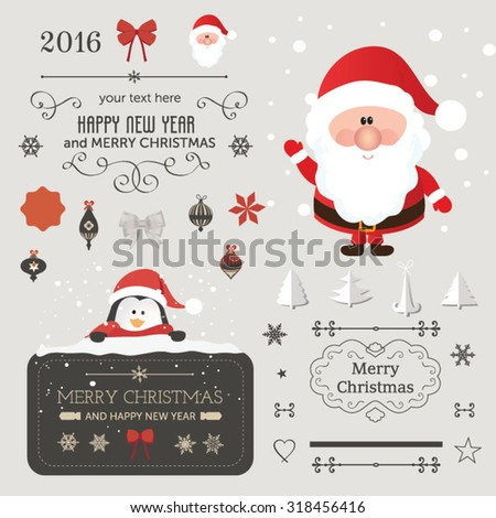 Set of Christmas ornaments and decorative elements, vintage banner, ribbon, labels, frames, badge, stickers. Vintage Santa Claus - stock vector
