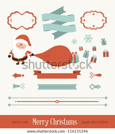 Set of christmas ornaments and decorative elements, vintage frames, labels, stickers. Christmas element. Vintage santa claus - stock vector