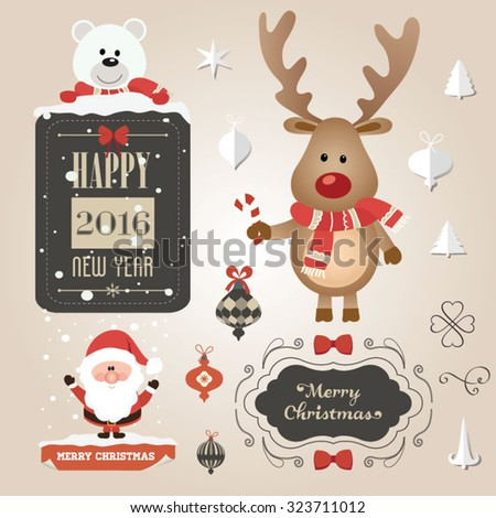 Set of Christmas ornaments and decorative elements, vintage frames, labels, stickers. Christmas vector element. Vintage Santa Claus and reindeer - stock vector