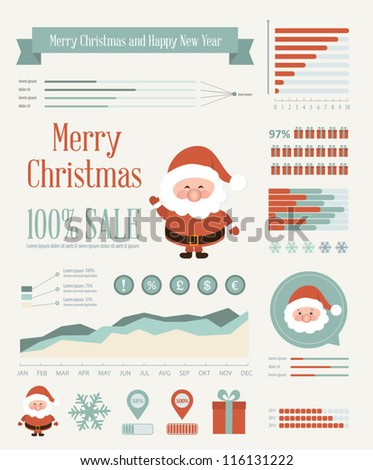 Set of christmas ornaments and decorative elements, vintage frames, labels, stickers. Info graphic christmas element. Vintage santa claus - stock vector