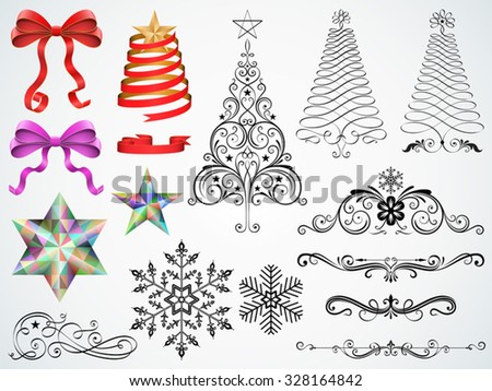 Set of Christmas ornaments and design elements vector illustration. Saved in EPS 10 file with transparencies (Gift ribbons only), all elements are separated and well designed for easy editing. - stock vector