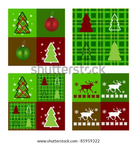Set of Christmas patterns with Nordic pattern and tartan