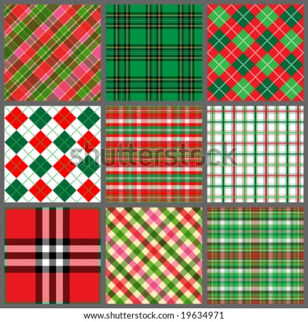 Set of Christmas plaids