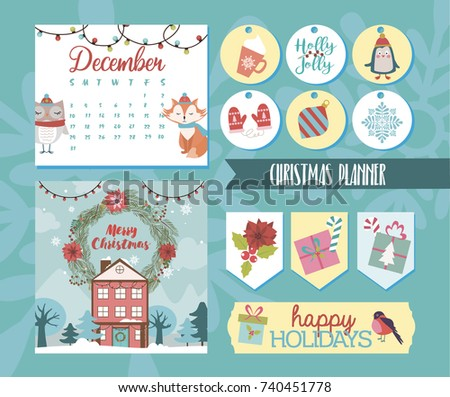 Set of christmas planner and stickers for creating holiday mood vector illustration