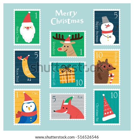 Set of Christmas postage stamps.vector illustration